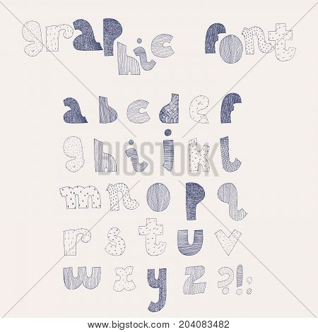 Vector hand drawn alphabet. Letters sequence from A to Z in various textured styles