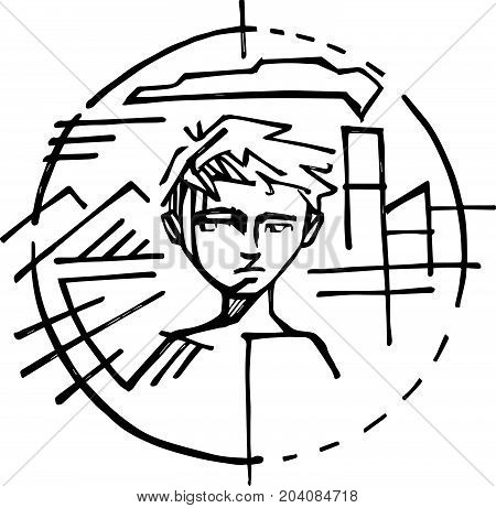 Hand drawn vector illustration or drawing of a poor child in city symbol