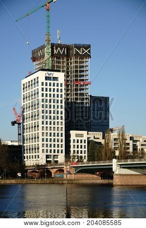FRANKFURT, GERMANY - JANUARY 05: The construction project The Riverside Financial District with various high-rise buildings on January 05, 2017 in Frankfurt.