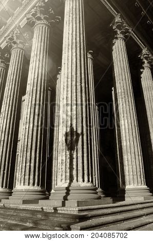 Kazan Cathedral colonnade in St Petersburg Russia. St Petersburg architecture landmark. Sepia tones applied. Architecture background