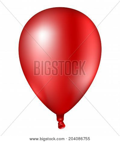 3D Realistic Colorful Red Balloon. Vector Illustration Of Photorealistic Flying Helium Balloon,isola