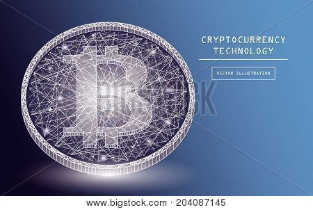 Bitcoin digital currency vector icons and symbols. Crypto currency token coins with bitcoin symbol. Peer to peer network digital payment system. Blockchain concept.