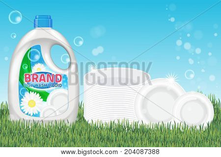Dishwashing liquid products ad. Vector 3d illustration. Bottle template design. Dish wash brand bottle advertisement poster layout.