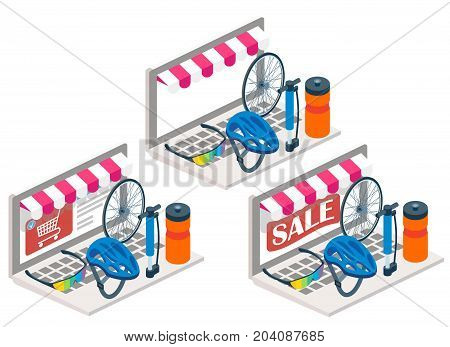 Bike online vector illustration. 3d isometric cycling helmet, glasses, bicycle wheel on laptop keyboard. Online shopping, bike service, e-commerce concept design elements isolated on white background.
