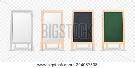 Realistic special menu announcement board icon set isolated on transparent background. Clean restaurant outdoor blackboard background. Mockup of chalkboard for restaurant menu. Front view. Stock vector. EPS10 illustration.