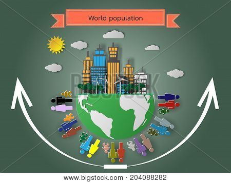The rise of the world population vector illustration