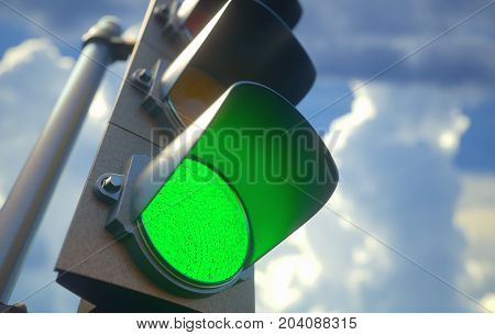 3D illustration. Traffic light with green light on signal open to go ahead.