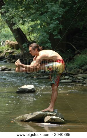 Yoga Pose On A Creek In Virginia