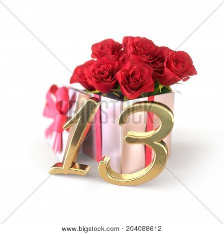 birthday concept with red roses in gift isolated on white background. 3D render - thirteenth birthday. 13th