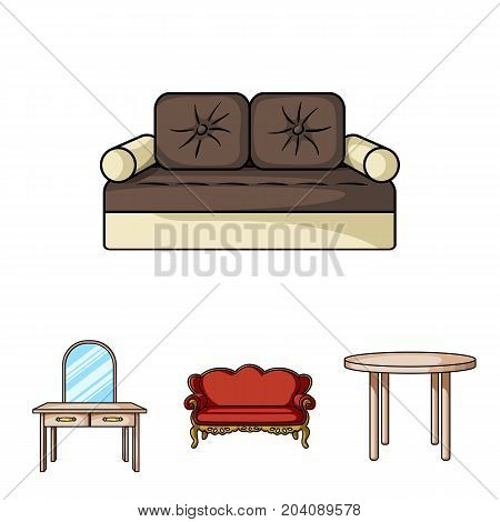 Sofa, armchair, table, mirror .Furniture and home interiorset collection icons in cartoon style vector symbol stock illustration .