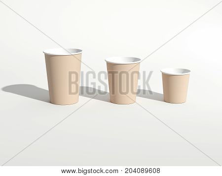 Three brown paper cups on bright floor. 3d rendering
