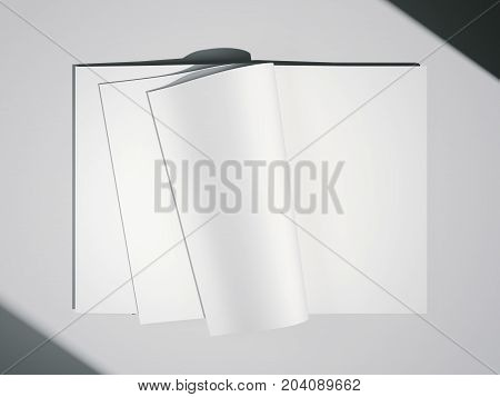 Magazine with empty white papers on a bright floor. 3d rendering