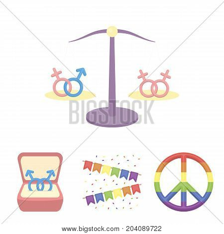 Flags, rainbow, emblem, rings. Gay set collection icons in cartoon style vector symbol stock illustration .