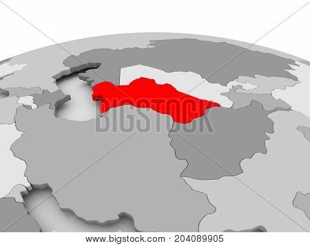 Turkmenistan On Grey Globe