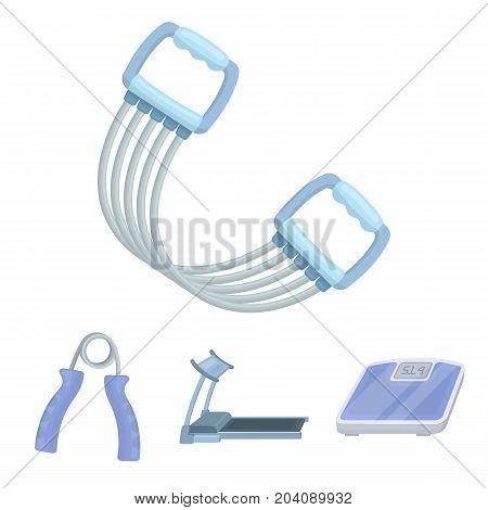 Treadmill, scales, expander and other equipment for training.Gym and workout set collection icons in cartoon style vector symbol stock illustration .