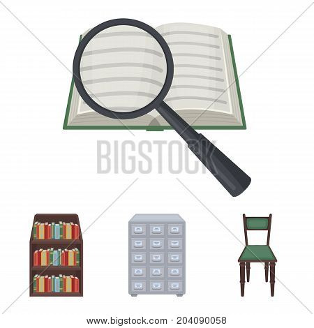Cabinet with filing cabinet, chair, shelves, information search. Library and bookstore set collection icons in cartoon style vector symbol stock illustration .
