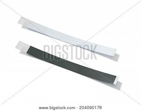 Two blank paper wirstbands isolated on white background. 3d rendering