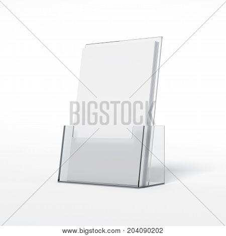 Leaflets plastic holder isolated on white background. 3d rendering