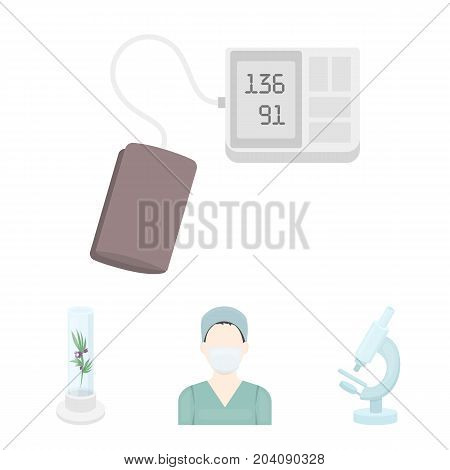 Plant in vitro, nurse, microscope, tonometer. Medicine set collection icons in cartoon style vector symbol stock illustration .