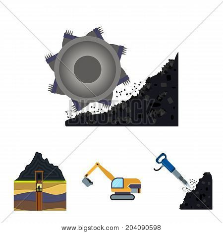 Excavator, tunnel, elevator, coal harvester and other equipment.Mine set collection icons in cartoon style vector symbol stock illustration .