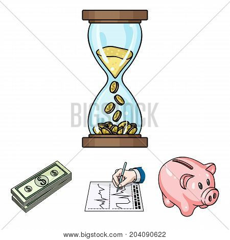 Bank, business schedule, bundle of notes, time money. Money and finance set collection icons in cartoon style vector symbol stock illustration .