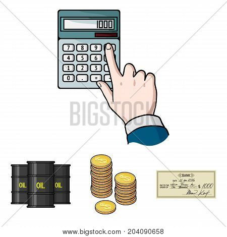 A stack of coins, a bank check, a calculator, black gold. Money and finance set collection icons in cartoon style vector symbol stock illustration .