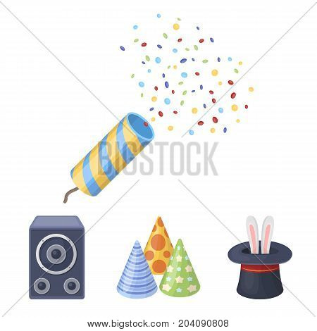 Tricks, music and other accessories at the party.Party and partits set collection icons in cartoon style vector symbol stock illustration .