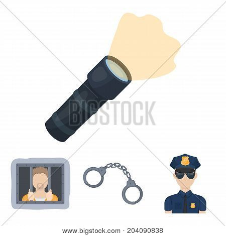Handcuffs, policeman, prisoner, flashlight.Police set collection icons in cartoon style vector symbol stock illustration .