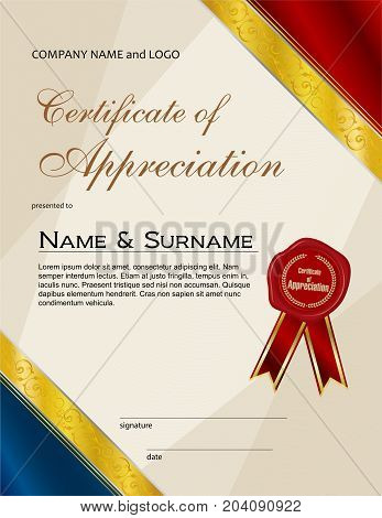 Certificate of Appreciation with wax seal and ribbon portrait version