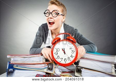 Emotional Secretary With Clock.