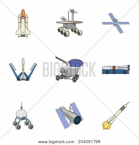 Space ship, Lunokhod, spacesuit and other equipment. Space technology set collection icons in cartoon style vector symbol stock illustration .