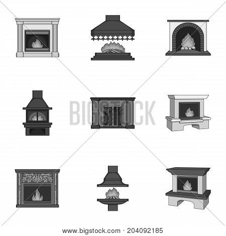 Fire, warmth and comfort. Fireplace set collection icons in monochrome style vector symbol stock illustration .