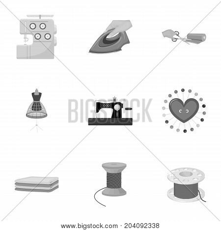 coil with thread, sewing machine, fabric and other equipment. Sewing and equipment set collection icons in monochrome style vector symbol stock illustration .