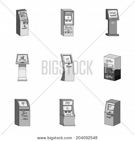 ATM, coffee machine, information apparatus and other types of terminals. Terminals set collection icons in monochrome style isometric vector symbol stock illustration .