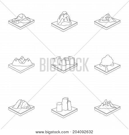 Mountains, rocks, lighthouse, volcano and other land reliefs. Mountains and landscapes set collection icons in outline style isometric vector symbol stock illustration .