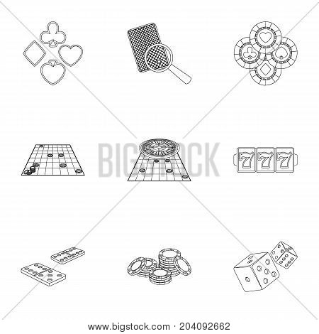 Hobby, entertainment, recreation and other  icon in outline style., Winning, excitement, casino, icons in set collection.