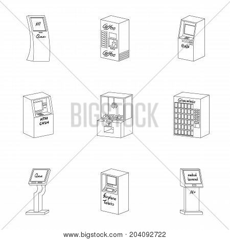ATM, coffee machine, information apparatus and other types of terminals. Terminals set collection icons in outline style isometric vector symbol stock illustration . poster