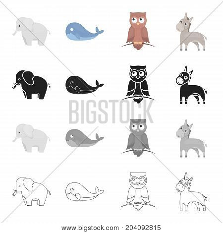 An elephant, a large land animal, a whale, a donkey, a night owl. Animals set collection icons in cartoon black monochrome outline style vector symbol stock illustration .