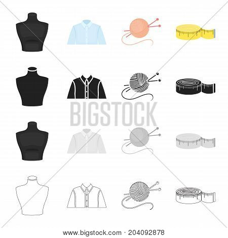 Measuring tape for sewing, mannequin, man's shirt, tangle with knitting needles. Sewing and equipment set collection icons in cartoon black monochrome outline style vector symbol stock illustration .