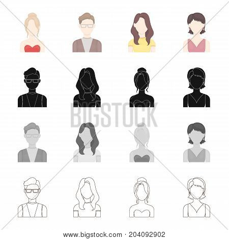 The face of a girl with a hairdo, the appearance of a man with glasses, a young girl. Face and appearance set collection icons in cartoon black monochrome outline style vector symbol stock illustration .