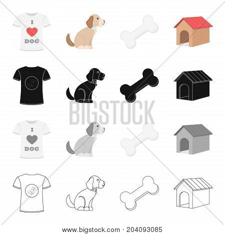 I love dogs, the puppy sits, a bone, a dog's booth.Puppy set collection icons in cartoon black monochrome outline style vector symbol stock illustration .