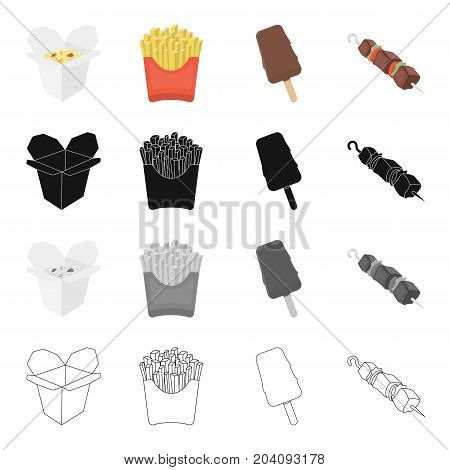 Noodles fast cooking, French fries, ice cream, shish kebab food. Fast food set collection icons in cartoon black monochrome outline style vector symbol stock illustration .