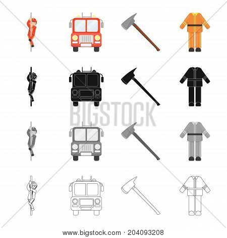 Fireman, machine, fire ax, fireman's protective suit. Fire Department set collection icons in cartoon black monochrome outline style vector symbol stock illustration .