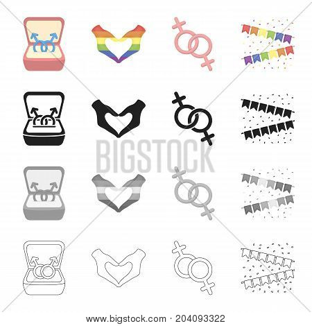 Symbols of same-sex love, heart, hand gesture, colorful flags. Sexual minority set collection icons in cartoon black monochrome outline style vector symbol stock illustration .