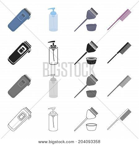 The machine for a hairstyle, a liquid for stacking, a brush for painting of hair, a comb. Barbershop set collection icons in cartoon black monochrome outline style vector symbol stock illustration .