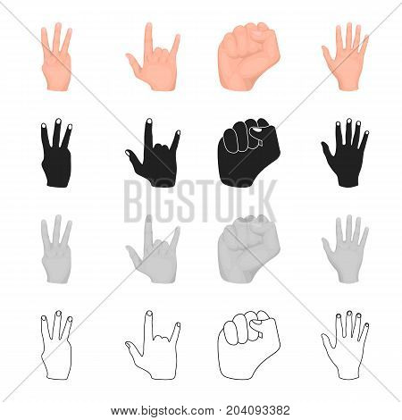 Different gestures with hands, fist, index finger. Gestures set collection icons in cartoon black monochrome outline style vector symbol stock illustration .