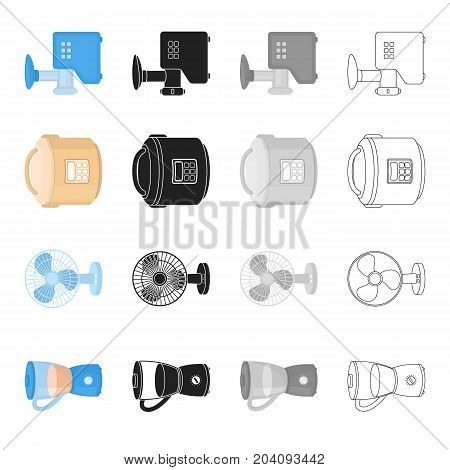 Blender, household fan, steamer, meat grinder. Household electric appliance set collection icons in cartoon black monochrome outline style vector symbol stock illustration .