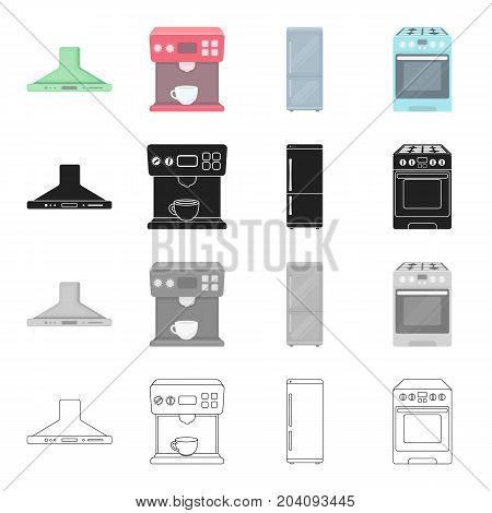 Extractor, coffee machine, household refrigerator, gas cooker. Electric household appliances set collection icons in cartoon black monochrome outline style vector symbol stock illustration .