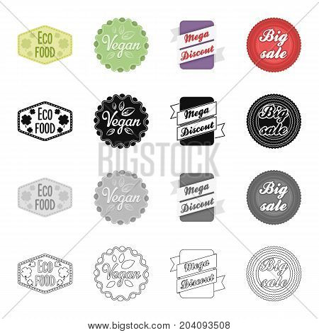 Different types of labels, vegan, mega discount, sale. Label set collection icons in cartoon black monochrome outline style vector symbol stock illustration .