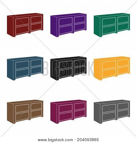 Brown bedside table with drawers.Nightstand next to the bed.Bedroom furniture single icon in black style vector symbol stock  illustration.